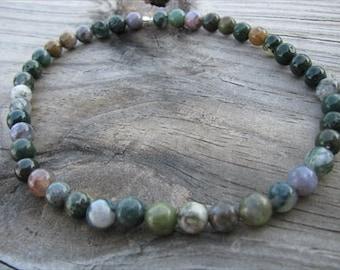 Beaded Ankle Bracelet- Fancy Jasper- Stone Anklet, greens, earthy anklet
