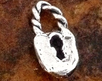 STERLING SILVER Lock Charm - 1 Rustic Handcrafted  AC40