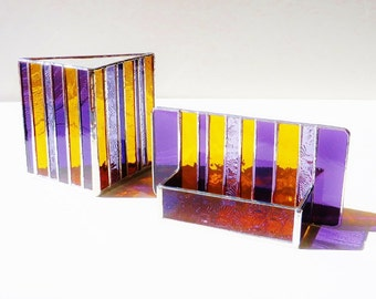 Interior Design Modern Stained Glass Desk Accessories Contemporary Business Card Holder Pen Cup Holder Purple Amber Office Decor