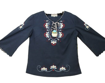 Lily NWT Navy Blue Embroidery Cute Summer Tunic