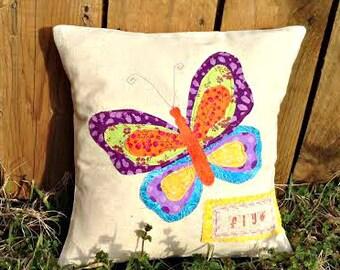 Butterfly Pillow, Spring Pillow, Butterfly Fabric Scrap Pillow, Butterfly Pillow Cover, Butterfly Cotton Pillow, Butterfly Throw Pillow