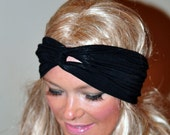 Black Turban Headband Turban Headwrap Stretch Twisted Workout Headband black Turban Wide Hippie Headband Gym Hair Wrap Hair Coverings