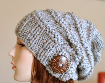 Slouchy Beanie Slouch Women Hat Button Hand Knit Winter Adult Teen Wool CHOOSE COLOR Grey Marble Gray Neutral Chunky Christmas Gift