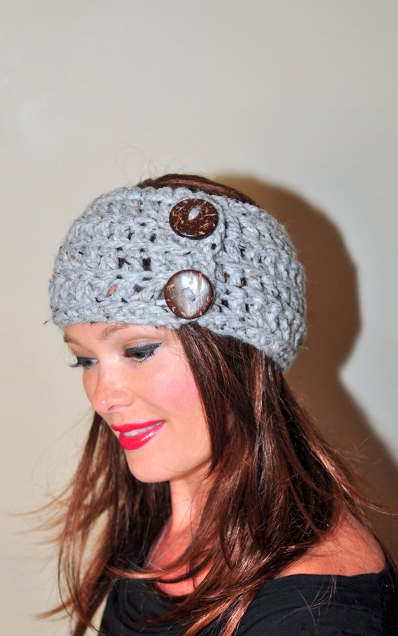 Crochet Hair Wrap : Crochet Headband Earwarmer Buttons Head wrap Warm Headband Winter Ear ...