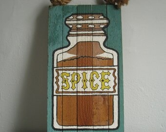 1970s Kitchen Decor Spice Painting Brown and Teal Hand Painted Wall Hanging