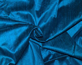 Silk Dupioni in  Unique Teal with black shimmers,Fat Quarter, D - 76