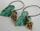 Verdigris Leaf and Golden Pinecone Dangle Earrings - Woodsy Jewelry - Nature Inspired