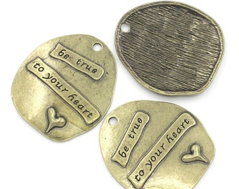 Word Charms Pendants Quote Charms Antiqued Bronze Be True To Your Heart Inspirational Word Charms