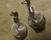 unusual Vintage stainless steel Post dangle earrings, Pierced ears