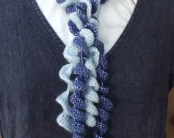 50% OFF! Ruffle Skinny Scarves, Crochet Lariats, Spiral Scarves,  Set of 2 Crochet Curly Scarves, Light Blue Dark Blue Crochet Curlicues