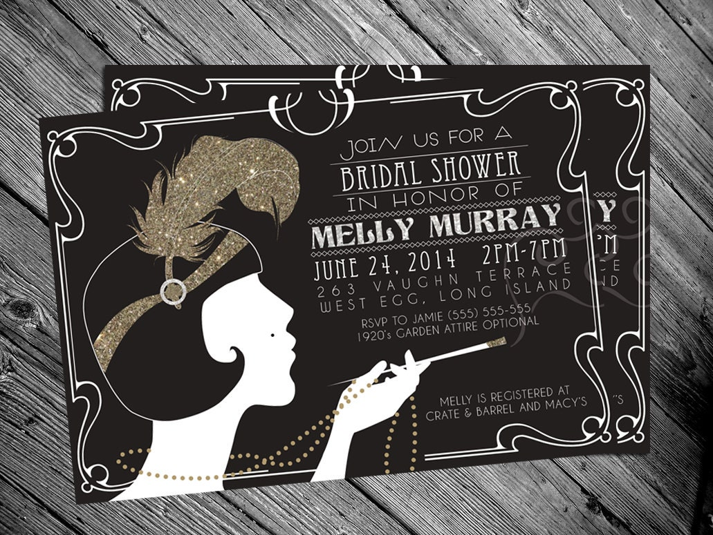 It's just a graphic of Satisfactory Gatsby Party Invitations