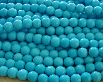 Natural Turquoise  Round Beads  8mm About 16 Inch.