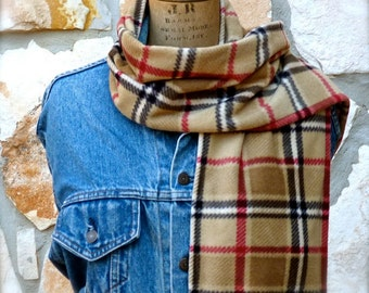 Plaid Fleece Scarf - Tan Black and Red Ladies Fleece Scarf
