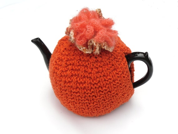 Clearance Sale , Orange Tea Cosy , hand knitted snug tea pot warmer , sale , cozy in tangerine orange 100% merino wool , great gift idea