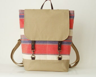 Multi color stripe canvas  Backpack , laptop bag, diaper bag with leather closure and 2 front pockets,  Design by BagyBags