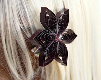 Burgundy Wedding Hair Clip, Wine Wedding Hair Accessory, Cabernet Bridal Hair Clip