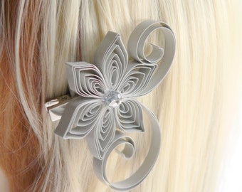 Light Gray Wedding Hair Clip, Soft Gray Wedding Hair Accessory, Paloma Wedding