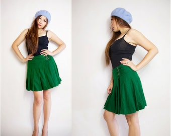 WoozWass Vintage Green Wool Mini skirt size S-M,M