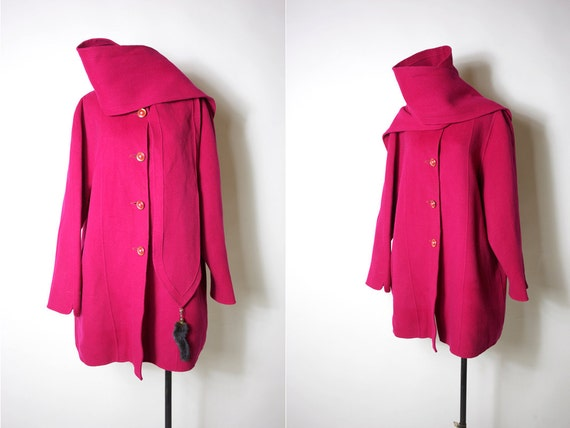 Reserved for vanessa--1970s Korean Barbie Doll Pink Wool Coat with Attached shawl and mink Fringe Tips Sz M