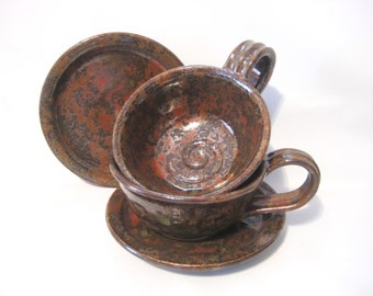 Cup and Saucer Set - Serving for Two Handmade Pottery One-Of A-Kind Glaze Art Rust Red, Gold, Brown, Metallic