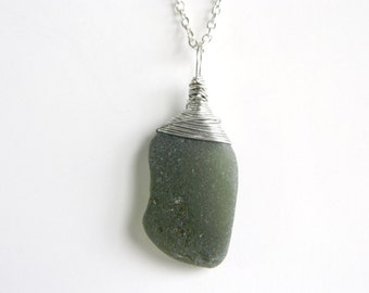 Wire Wrapped Sea Glass Necklace, Forest Green Chesapeake Bay Beach Glass Jewelry