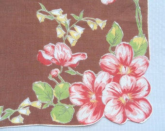 Sale 25% Off Use Coupon Code SAVE25 // Handkerchief Appleblossoms and Bell Flowers Vintage 50s