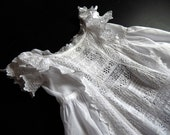Vintage Victorian Christening Gown English with Embroidery and Ruffles