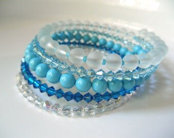 Aqua Blue Memory Wire Bracelet - Coil Bracelet - Turquoise Capri Pearl Wrap Around Wide Cuff Bracelet - Bridal Jewelry Beach Wedding