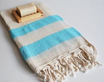 Shipping with FedEx - Turkish BATH Towel Peshtemal - Linen - Blue - Beach, Spa, Swim, Pool Towels and Pareo