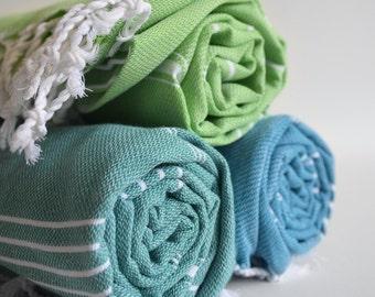 SALE 50 OFF / SET 3 / Turkish Beach Bath Towel / Classic Peshtemal / Blue - Teal Green - Green