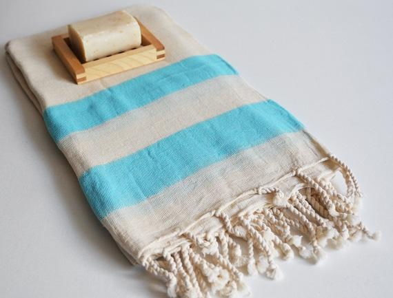 Shipping with FedEx - Turkish BATH Towel Peshtemal - Linen - Blue