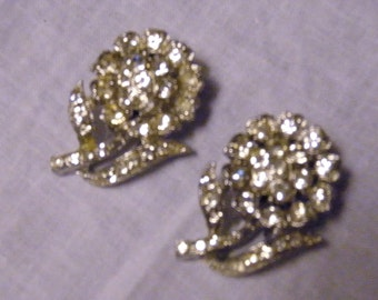 "Pr of ""Coro"" Art Deco Shoe / Collar Clipon Embellishments In Silver Metal w/ Rhinestones Vintage"