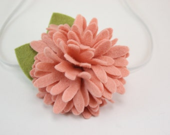 Baby Headbands - Peach Felt Flower Headband - Newborn Baby Girl to Adult