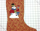 Steampunk Snowman Embroidered Christmas Stocking