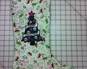 Embroidered Dark Skull Christmas Tree Stocking