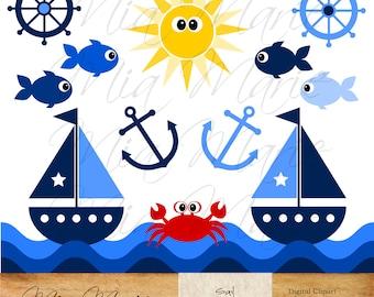INSTANT DOWNLOAD - Digital Clip Art - Sailboat Clipart, Boat Clip Art, Fish Clipart, Crab Clip Art, Sailing Clipart,  Summer Clip Art, Sun