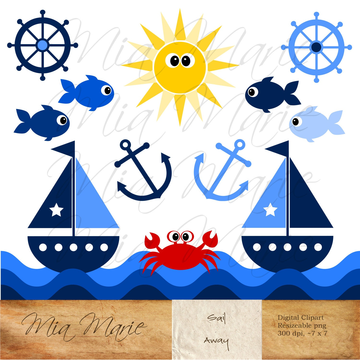INSTANT DOWNLOAD Digital Clip Art Sailboat Clipart Boat