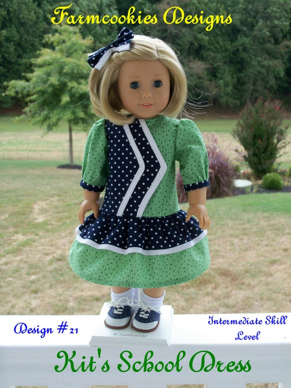 "PRINTED Pattern / Kit's School Dress/ Sewing Pattern for American Girl Kit, Ruthie, Molly or other 18"" Dolls"