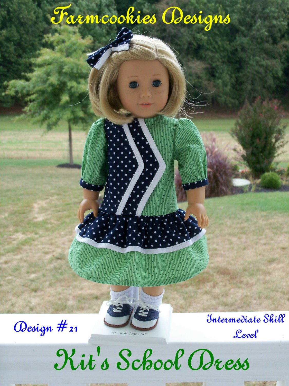 Printed pattern kits school dress sewing pattern fits american printed pattern kits school dress sewing pattern fits american girl or other 18 dolls jeuxipadfo Images