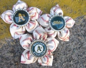 Baseball Fabric Flower Hair Clip and Pin for Oakland A's Fans