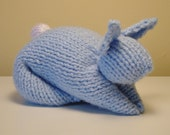 Stuffed Bunny Toy Hand-Knit in Light Blue, Soft Baby Toy, Shower Gift