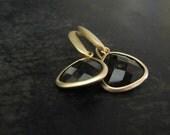 Smoky Quartz Earrings | Teardrop Earrings | Gemstone Earrings | Brown Pendant Earrings |  Gold Jewelry
