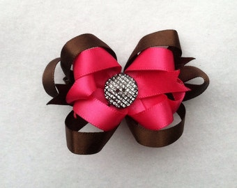 Pink chocolate hair bow with sparkly button center