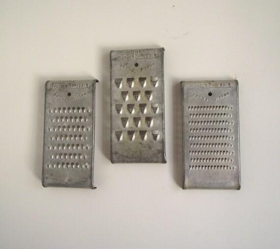 Antique Wonder Shredders 3 Grater Set Metal Kitchenware Food