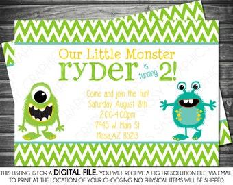 Boy Birthday Monster Invitation - Chevron, Blue, Green, Yellow, Printable, Digital