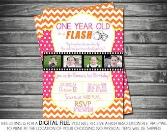 One Year in a Flash Girl Photo Birthday Invitation - Chevron, Pink, Yellow, Orange, Polka Dots, Printable, Digital