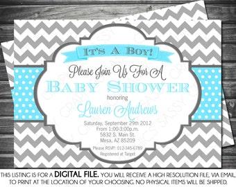 Boys Baby Shower Invitation - Chevron, Gray, Blue, Printable, Digital