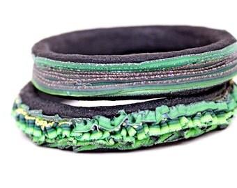 Handmade Bracelet set (2ps) - gift for her -black and green