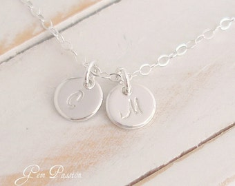 Tiny Sterling Silver Initial Disc Necklace, 2 Disc, Tiny Charms, Custom Hand Stamped, Mothers Necklace, Initial Monogram Choose font/Initial