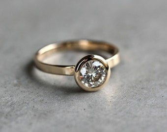 Moissanite Engagement Ring, Conflict Free Alternative Diamond Engagement Recycled 14k Gold Solitaire White Stone Ring - US Size 6.5